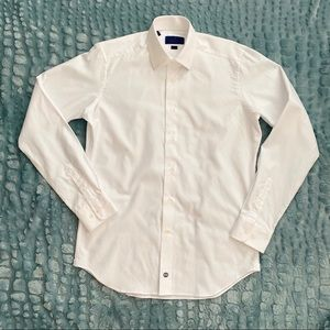DAVID DONAHUE Trim Fit White Dress Shirt, 16 36/37